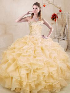 Fine Gold Ball Gowns Sweetheart Sleeveless Organza Floor Length Lace Up Beading and Ruffles Sweet 16 Quinceanera Dress