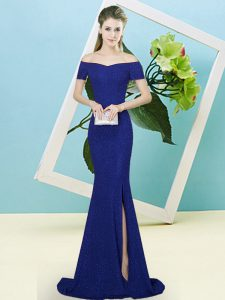 Fashion Royal Blue Off The Shoulder Zipper Sequins Prom Gown Sweep Train Short Sleeves