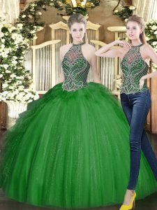 Delicate Sleeveless Floor Length Beading and Ruffles Lace Up Sweet 16 Quinceanera Dress with Dark Green