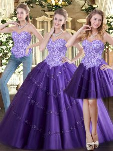 Sleeveless Floor Length Beading Lace Up Quince Ball Gowns with Purple