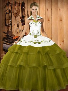 Super Olive Green Halter Top Lace Up Embroidery and Ruffled Layers Quince Ball Gowns Sweep Train Sleeveless