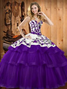 Purple Lace Up Quince Ball Gowns Embroidery Sleeveless Sweep Train