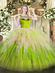 Glamorous Multi-color Sweet 16 Quinceanera Dress For with Beading and Ruffles Scoop Sleeveless Zipper