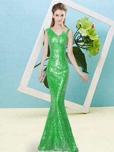 Green Sleeveless Sequined Zipper Dress for Prom for Prom and Party