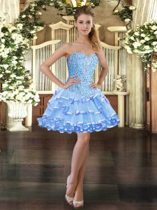 Sweetheart Sleeveless Prom Gown Mini Length Beading and Ruffled Layers Light Blue Organza