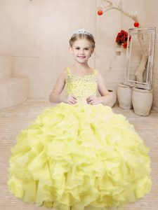 Attractive Sleeveless Organza Floor Length Lace Up Kids Pageant Dress in Light Yellow with Beading and Ruffles