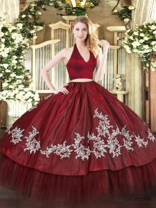 Sophisticated Sleeveless Taffeta Floor Length Zipper Quince Ball Gowns in Burgundy with Appliques
