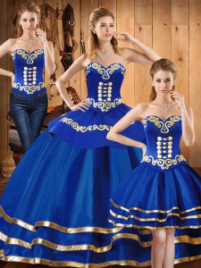 Shining Sweetheart Sleeveless Sweet 16 Quinceanera Dress Floor Length Embroidery Blue Satin and Tulle