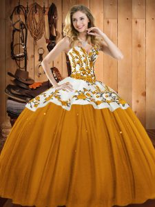 Customized Floor Length Lace Up Sweet 16 Dress Gold for Military Ball and Sweet 16 and Quinceanera with Embroidery