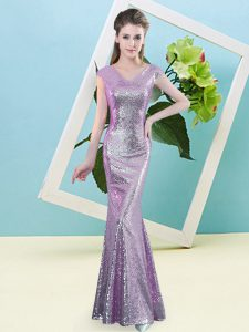 Delicate Lilac Sequined Zipper Evening Dress Cap Sleeves Floor Length Sequins