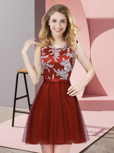 Stunning Wine Red Side Zipper Scoop Lace Quinceanera Court of Honor Dress Tulle Sleeveless