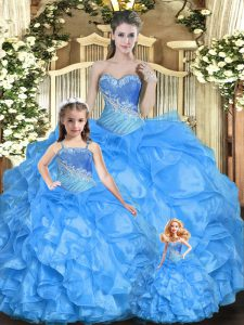 Sleeveless Floor Length Beading and Ruffles Lace Up 15th Birthday Dress with Baby Blue