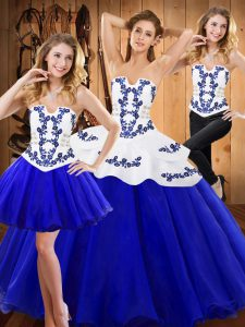 Edgy Royal Blue Ball Gowns Tulle Strapless Sleeveless Embroidery Floor Length Lace Up 15 Quinceanera Dress
