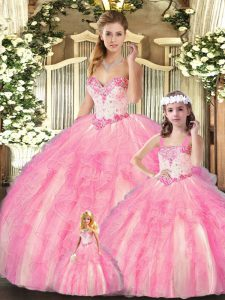 Decent Organza Sweetheart Sleeveless Lace Up Beading and Ruffles Vestidos de Quinceanera in Baby Pink