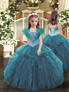 Straps Sleeveless Little Girls Pageant Dress Floor Length Beading and Ruffles Teal Organza
