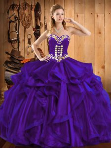 Nice Purple Sleeveless Organza Lace Up Sweet 16 Quinceanera Dress for Military Ball and Sweet 16 and Quinceanera
