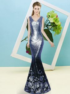 Floor Length Blue Prom Gown V-neck Sleeveless Zipper