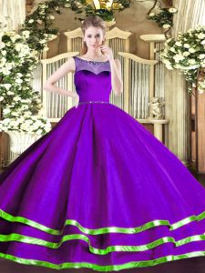 Purple Scoop Neckline Beading and Ruffled Layers Quinceanera Dress Sleeveless Zipper