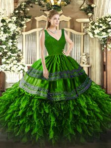 Green V-neck Backless Beading and Lace and Ruffles Quinceanera Dresses Sleeveless