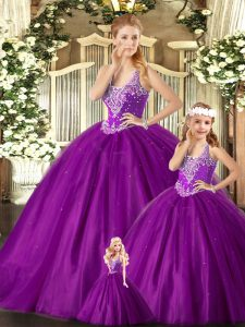 Fine Purple Ball Gowns Straps Sleeveless Tulle Floor Length Lace Up Beading Sweet 16 Dresses