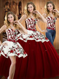 Wine Red Sleeveless Satin and Tulle Lace Up Ball Gown Prom Dress for Military Ball and Sweet 16 and Quinceanera