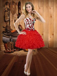 Red Lace Up Prom Dresses Embroidery and Ruffles Sleeveless Mini Length