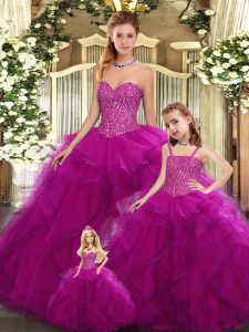 Super Fuchsia Sweetheart Neckline Beading and Ruffles Quinceanera Dresses Sleeveless Lace Up