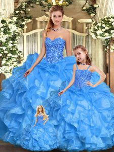 Artistic Floor Length Baby Blue Quinceanera Gowns Sweetheart Sleeveless Lace Up