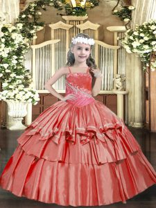 Beading and Ruffled Layers Little Girls Pageant Dress Wholesale Coral Red Lace Up Sleeveless Floor Length