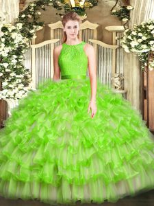 Exceptional Sleeveless Zipper Floor Length Ruffled Layers Quince Ball Gowns