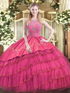 Custom Design Hot Pink Sleeveless Beading and Embroidery and Ruffled Layers Floor Length Quinceanera Gowns