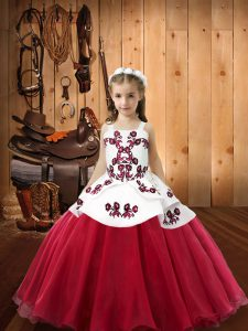 Straps Sleeveless Organza Kids Formal Wear Embroidery Lace Up
