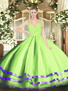 Dynamic Floor Length Ball Gowns Sleeveless Yellow Green Quinceanera Dresses Zipper