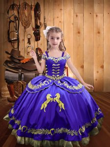 Great Purple Satin Lace Up Off The Shoulder Sleeveless Floor Length Little Girls Pageant Gowns Beading and Embroidery