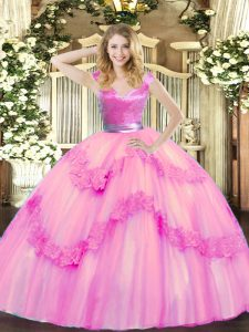 Rose Pink Sleeveless Tulle Zipper Quinceanera Dresses for Military Ball and Sweet 16 and Quinceanera