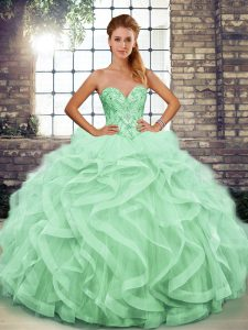 Luxury Sweetheart Sleeveless Tulle Quinceanera Gowns Beading and Ruffles Lace Up