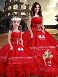 Perfect Red Ball Gowns Strapless Sleeveless Satin Floor Length Lace Up Embroidery and Ruffles Quinceanera Gown