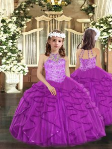High Quality Sleeveless Tulle Floor Length Lace Up Kids Pageant Dress in Purple with Beading and Ruffles