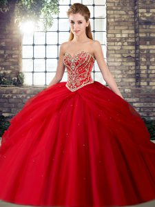 Tulle Sleeveless Ball Gown Prom Dress Brush Train and Beading and Pick Ups