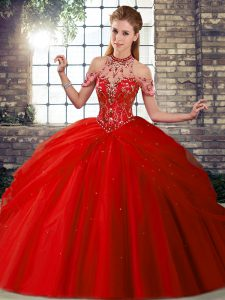 Red Lace Up Vestidos de Quinceanera Beading and Pick Ups Sleeveless Brush Train