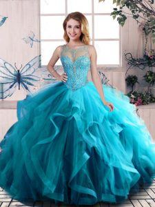 Shining Floor Length Lace Up Quince Ball Gowns Aqua Blue for Sweet 16 and Quinceanera with Beading and Ruffles