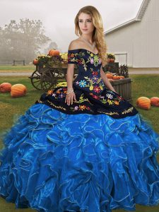 Dazzling Blue And Black Lace Up 15 Quinceanera Dress Embroidery and Ruffles Sleeveless Floor Length