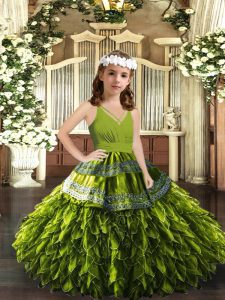 Appliques and Ruffles Girls Pageant Dresses Olive Green Zipper Sleeveless Floor Length