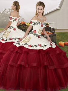 Lace Up Vestidos de Quinceanera Wine Red for Military Ball and Sweet 16 and Quinceanera with Embroidery and Ruffled Layers Brush Train