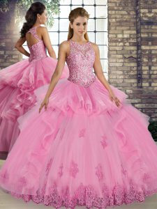 Vintage Rose Pink Scoop Neckline Lace and Embroidery and Ruffles Quinceanera Dresses Sleeveless Lace Up
