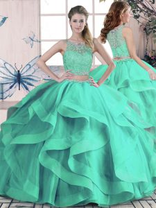 Designer Scoop Sleeveless Tulle Quince Ball Gowns Beading and Ruffles Lace Up