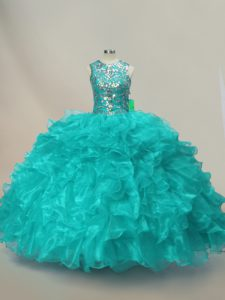 Glittering Sleeveless Lace Up Floor Length Beading and Ruffles Quinceanera Gown