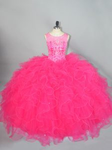 Hot Pink Lace Up Quinceanera Gown Beading and Ruffles Sleeveless Floor Length