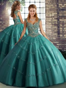 Glamorous Teal Sleeveless Tulle Lace Up 15 Quinceanera Dress for Military Ball and Sweet 16 and Quinceanera