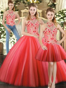 Admirable Halter Top Sleeveless Lace Up Quince Ball Gowns Red Tulle